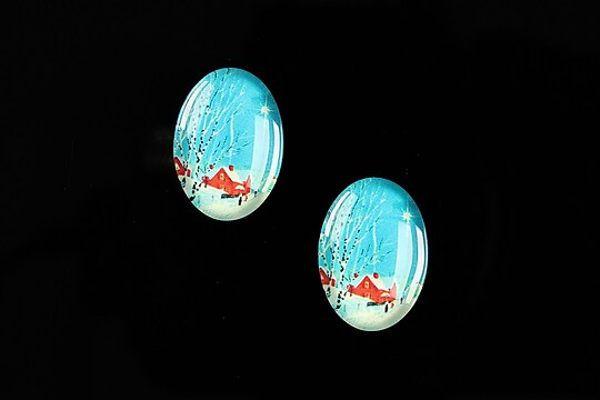 "Cabochon sticla 18x13mm ""Christmas"" cod 593"
