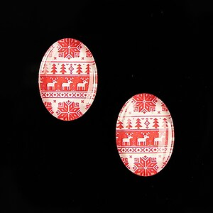 "Cabochon sticla 18x13mm ""Christmas"" cod 596"