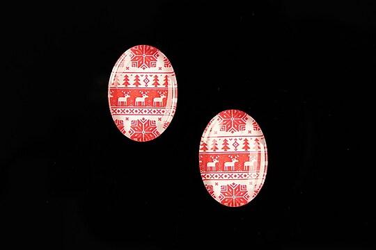 "Cabochon sticla 18x13mm ""Christmas"" cod 596"