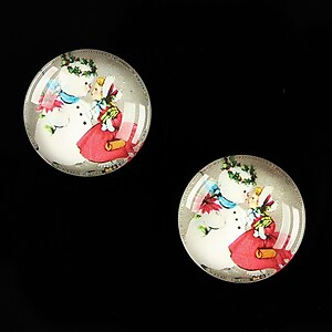 "Cabochon sticla 18mm ""Christmas"" cod 601"