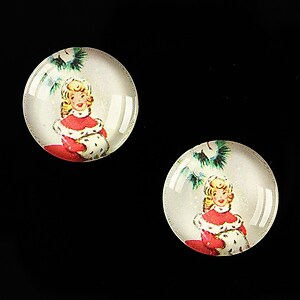 "Cabochon sticla 18mm ""Christmas"" cod 602"
