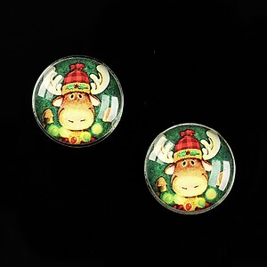 "Cabochon sticla 16mm ""Christmas"" cod 607"