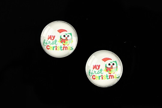 "Cabochon sticla 16mm ""Christmas"" cod 610"