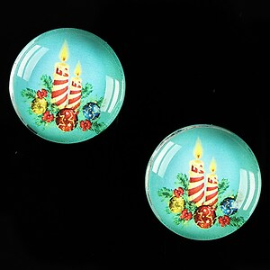 "Cabochon sticla 20mm ""Christmas"" cod 612"