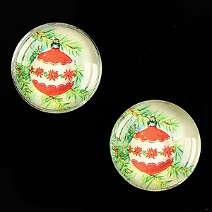 "Cabochon sticla 20mm ""Christmas"" cod 614"
