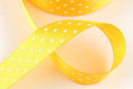 Panglica saten galben portocaliu cu buline albe latime 2,5cm (1m)