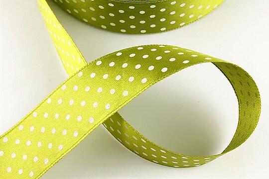 Panglica saten verde kaki cu buline albe latime 2,5cm (1m)