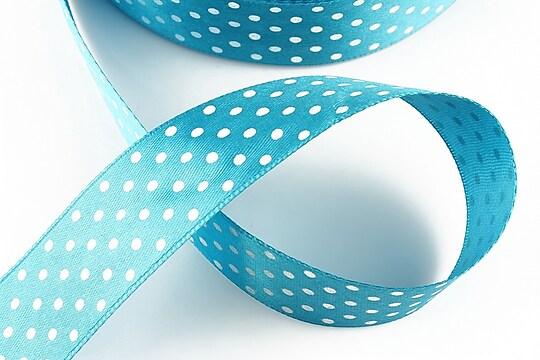 Panglica saten bleu cu buline albe latime 2,5cm (1m)