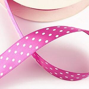 Panglica saten roz bonbon cu buline albe latime 1,9cm (1m)