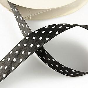Panglica saten neagra cu buline albe latime 1,9cm (1m)