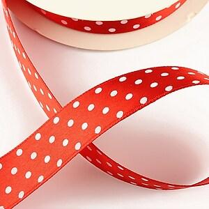 Panglica saten rosie cu buline albe latime 1,9cm (1m)