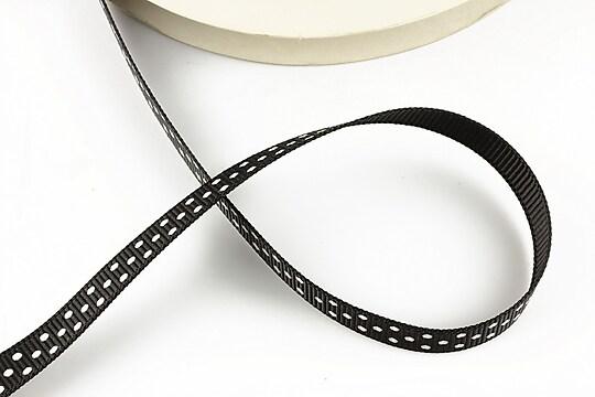 Panglica material textil neagra cu buline albe latime 1cm (1m)