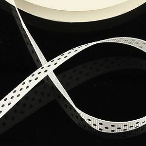 Panglica material textil alba cu buline negre latime 1cm (1m)