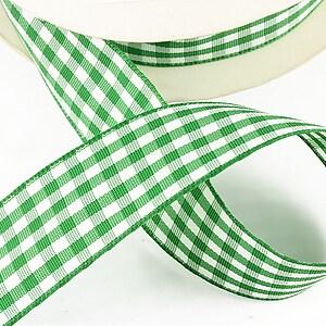 Panglica material textil carouri, latime 2,5cm (1m) - verde