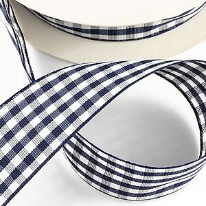 Panglica material textil carouri, latime 2,5cm (1m) - bleumarin