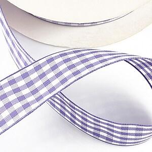Panglica material textil carouri, latime 2,5cm (1m) - mov
