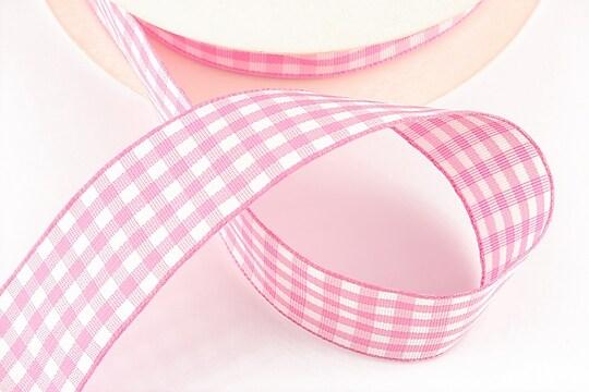 Panglica material textil carouri, latime 2,5cm (1m) - roz