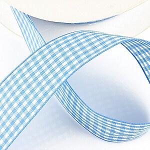 Panglica material textil carouri, latime 2,5cm (1m) - bleu