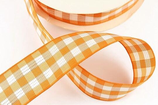 Panglica material textil carouri cu fir argintiu, latime 2,5cm (1m) - portocaliu