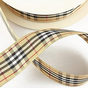 Panglica material textil carouri, latime 2,5cm (1m) - bej