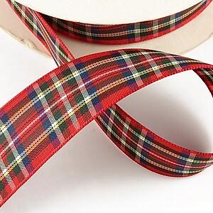 Panglica material textil carouri, latime 2,5cm (1m) - rosu