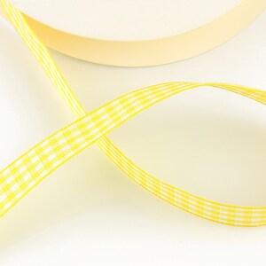Panglica material textil carouri, latime 1,4cm (1m) - galben