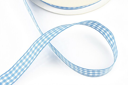 Panglica material textil carouri, latime 1,4cm (1m) - albastru