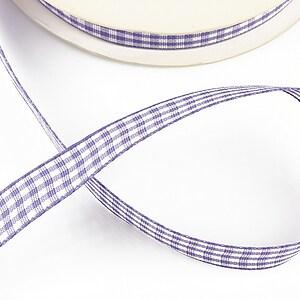 Panglica material textil carouri, latime 1,4cm (1m) - mov