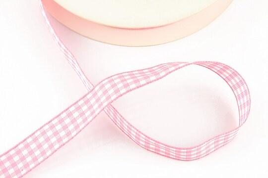 Panglica material textil carouri, latime 1,4cm (1m) - roz