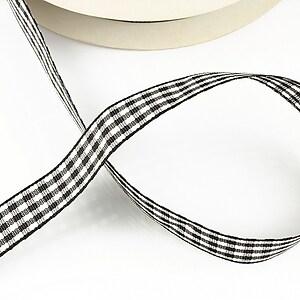 Panglica material textil carouri, latime 1,4cm (1m) - negru