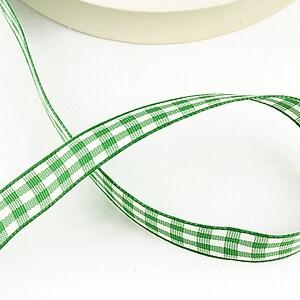 Panglica material textil carouri, latime 1,4cm (1m) - verde