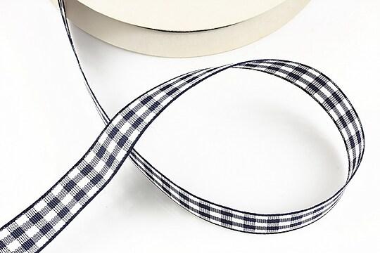 Panglica material textil carouri, latime 1,4cm (1m) - bleumarin