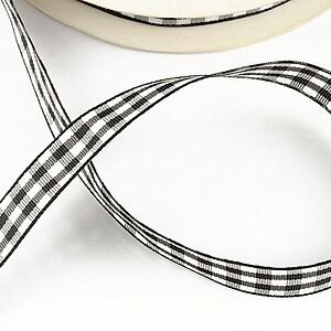 Panglica material textil carouri, latime 1,4cm (1m) - neagra