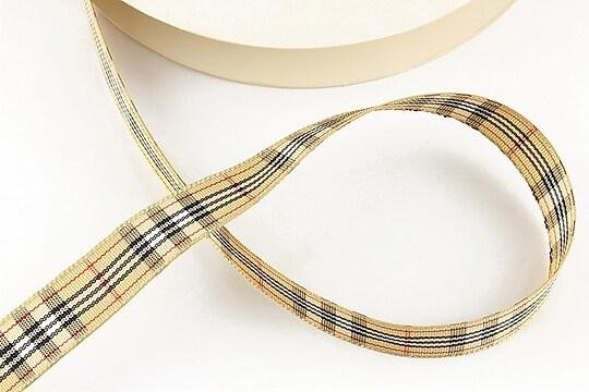 Panglica material textil carouri, latime 1,4cm (1m) - bej