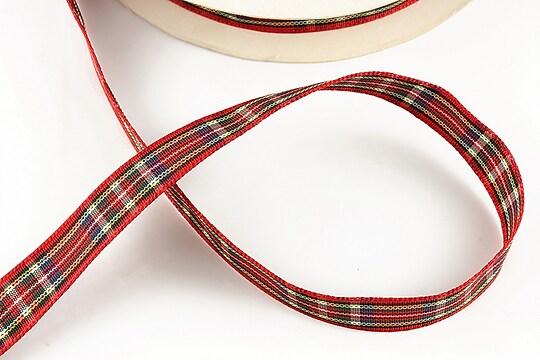 Panglica material textil carouri, latime 1,4cm (1m) - rosu