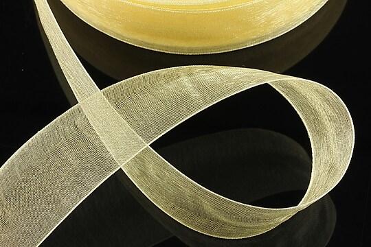 Panglica organza, latime 2,4cm (1m) - galben auriu