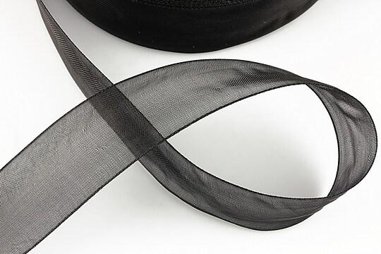 Panglica organza, latime 2,4cm (1m) - negru