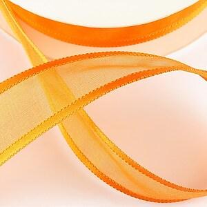 Panglica organza si saten, latime 2,5cm (1m) - portocaliu