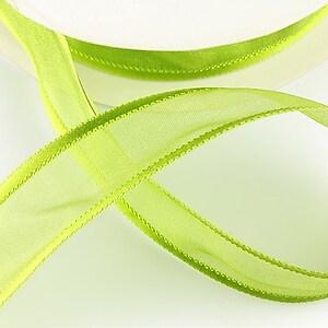 Panglica organza si saten, latime 2,5cm (1m) - verde lime