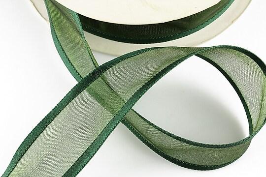 Panglica organza si saten, latime 2,5cm (1m) - verde imperial