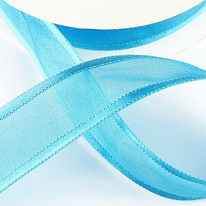 Panglica organza si saten, latime 2,5cm (1m) - albastru turcoaz