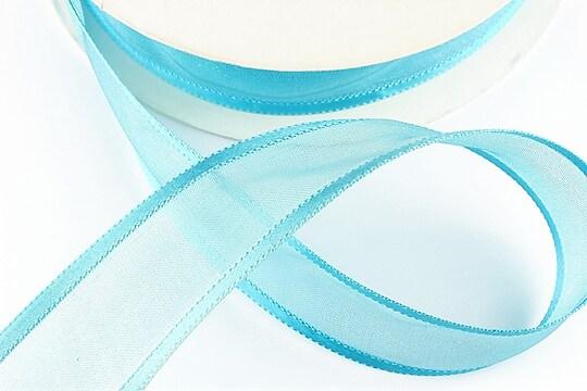 Panglica organza si saten, latime 2,5cm (1m) - bleu