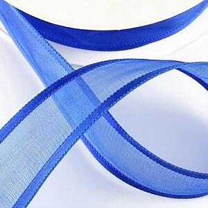 Panglica organza si saten, latime 2,5cm (1m) - albastru safir