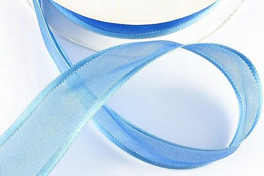 Panglica organza si saten, latime 2,5cm (1m) - albastru
