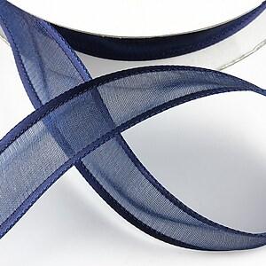 Panglica organza si saten, latime 2,5cm (1m) - bleumarin