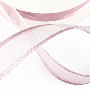 Panglica organza si saten, latime 2,5cm (1m) - roz balais