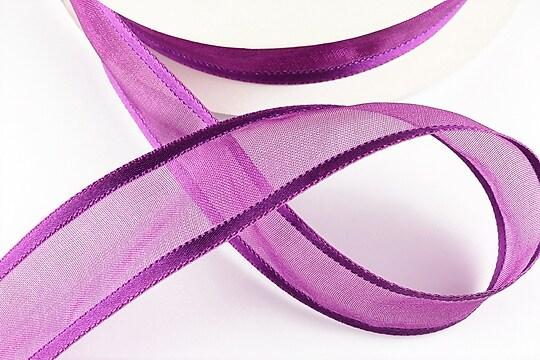 Panglica organza si saten, latime 2,5cm (1m) - purple