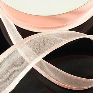 Panglica organza si saten, latime 2,5cm (1m) - roz piersica