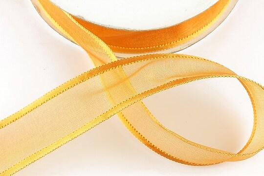 Panglica organza si saten, latime 2,5cm (1m) - orange
