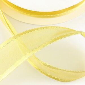 Panglica organza si saten, latime 2,5cm (1m) - galben auriu
